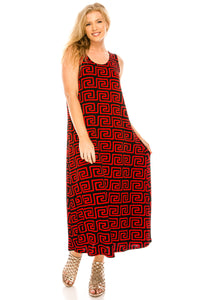 Jostar Women's Stretchy Tank Long Dress Sleeveless Plus Print, 700BN-TXP-W187
