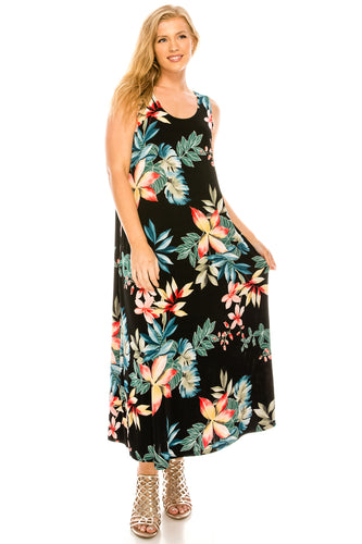 Jostar Women's Stretchy Long Tank Dress Print, 700BN-TP-W189 - Jostar Online