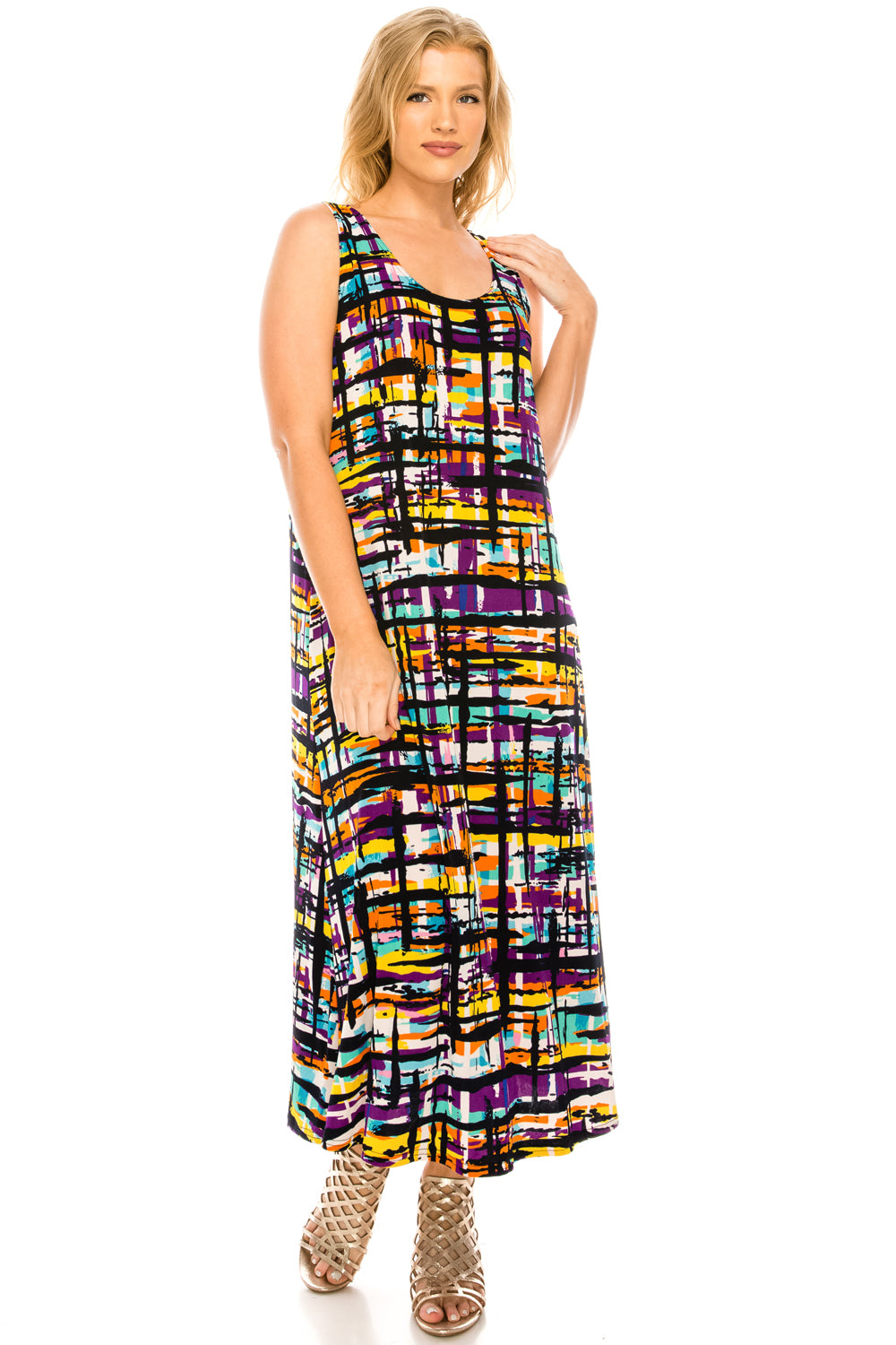 Jostar Women's Stretchy Tank Long Dress Sleeveless Plus Print, 700BN-TXP-W198