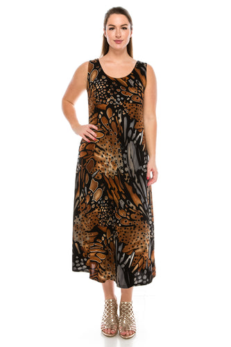 Jostar Women's Stretchy Long Tank Dress Print, 700BN-TP-W207 - Jostar Online