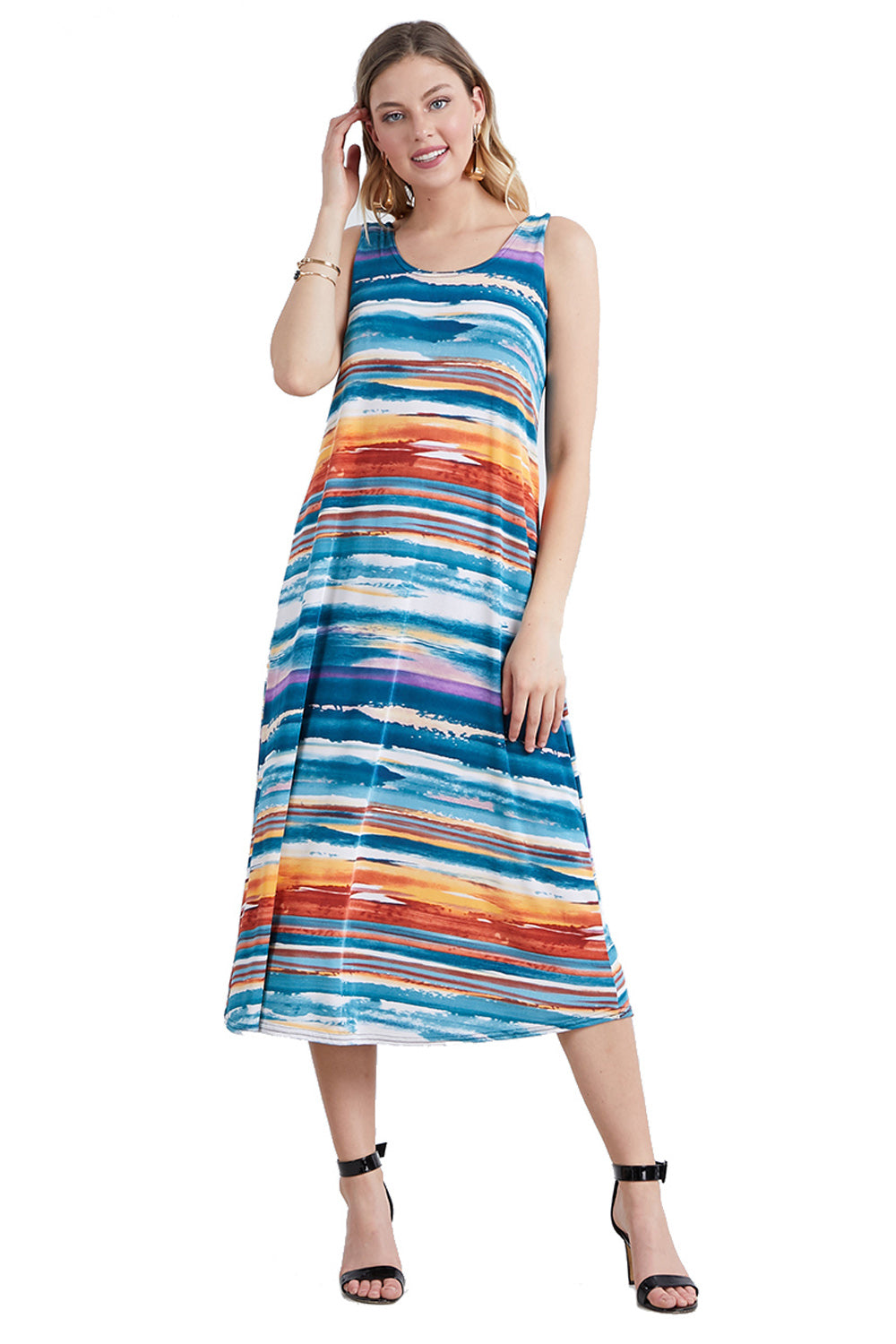 Jostar Women's Stretchy Long Tank Dress Print, 700BN-TP-W213 - Jostar Online