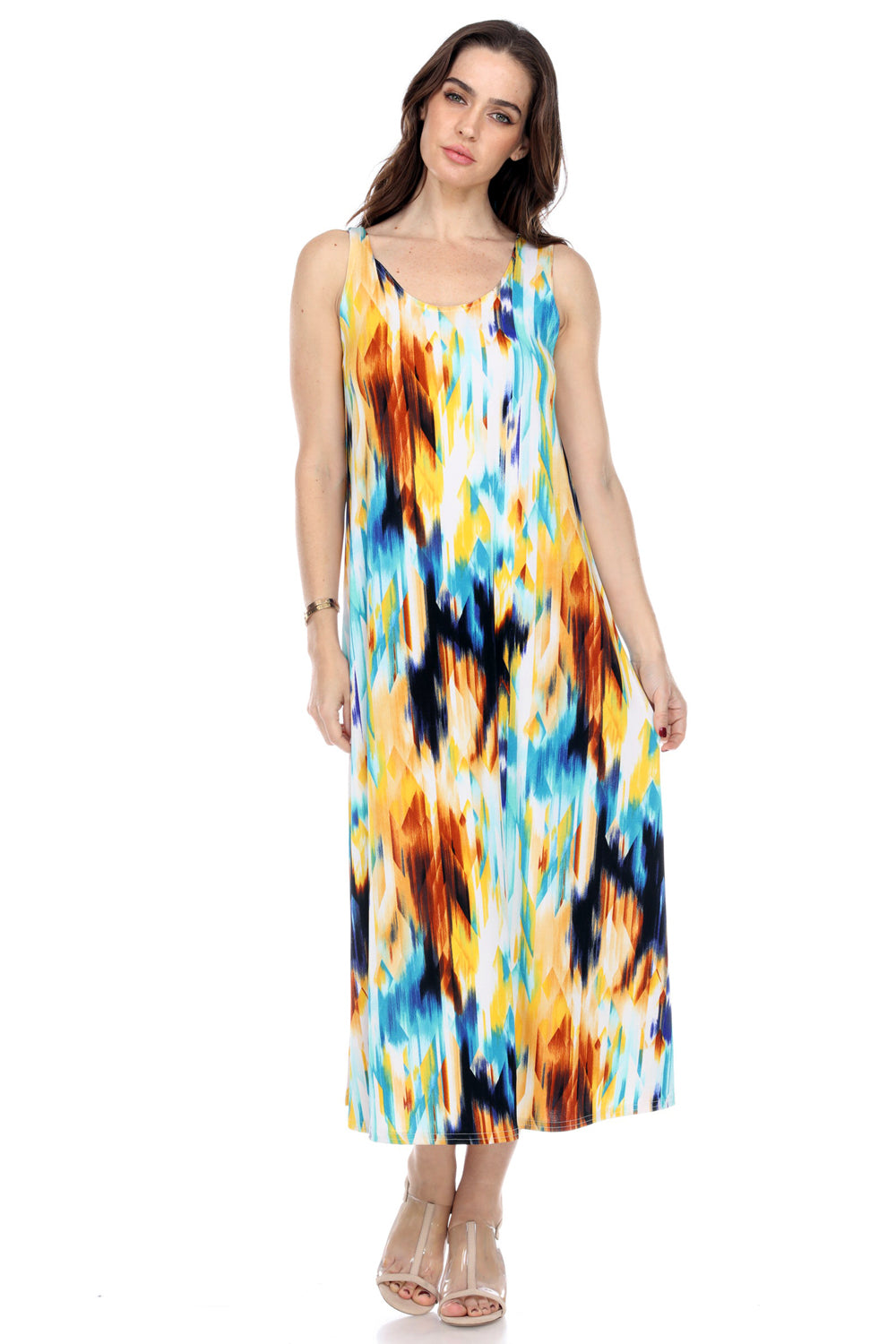 Jostar Women's Stretchy Long Tank Dress Print, 700BN-TP-W250 - Jostar Online