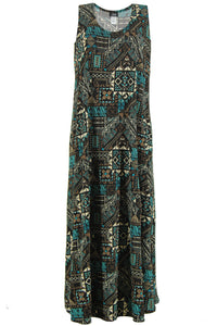 Jostar Women's Stretchy Tank Long Dress Sleeveless Plus Print, 700BN-TXP-W070 - Jostar Online