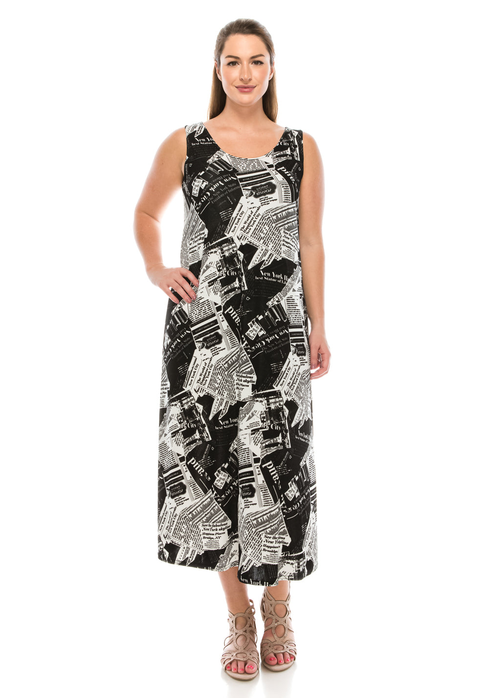 Jostar Women's Stretchy Tank Long Dress Sleeveless Plus Print, 700BN-TXP-W120 - Jostar Online
