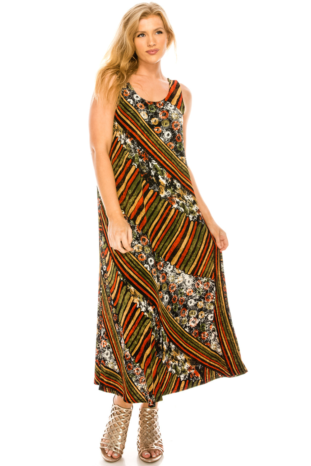 Jostar Women's Stretchy Tank Long Dress Sleeveless Plus Print, 700BN-TXP-W160 - Jostar Online