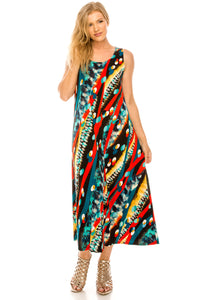 Jostar Women's Stretchy Tank Long Dress Sleeveless Plus Print, 700BN-TXP-W175 - Jostar Online