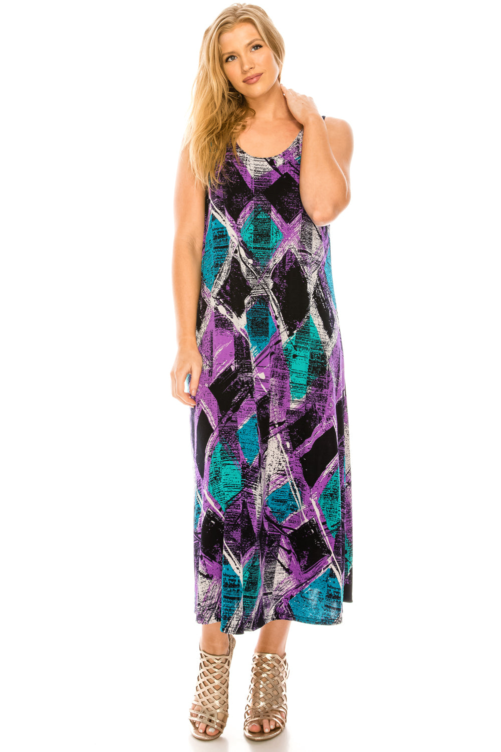 Jostar Women's Stretchy Tank Long Dress Sleeveless Plus Print, 700BN-TXP-W180 - Jostar Online