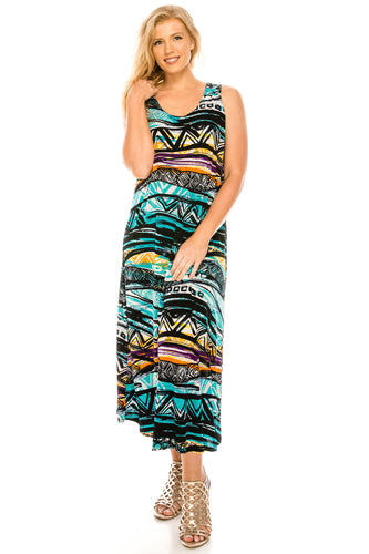 Jostar Women's Stretchy Tank Long Dress Sleeveless Plus Print, 700BN-TXP-W194 - Jostar Online