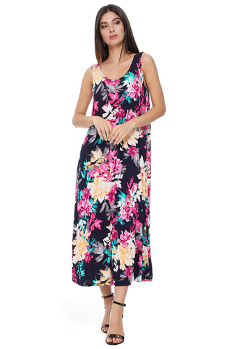 Jostar Women's Stretchy Tank Long Dress Sleeveless Plus Print, 700BN-TXP-W214 - Jostar Online