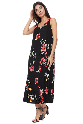 Jostar Women's Stretchy Tank Long Dress Sleeveless Plus Print, 700BN-TXP-W215 - Jostar Online