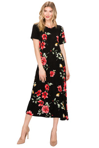 Jostar Women's Stretchy Long Dress Short Sleeve Print, 702BN-SP-W215 - Jostar Online