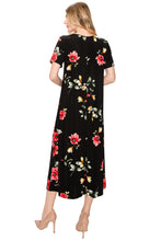 Load image into Gallery viewer, Jostar Women's Stretchy Long Dress Short Sleeve Print, 702BN-SP-W215 - Jostar Online