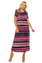 Load image into Gallery viewer, Jostar Women's Stretchy Long Dress Short Sleeve Print, 702BN-SP-W275 - Jostar Online