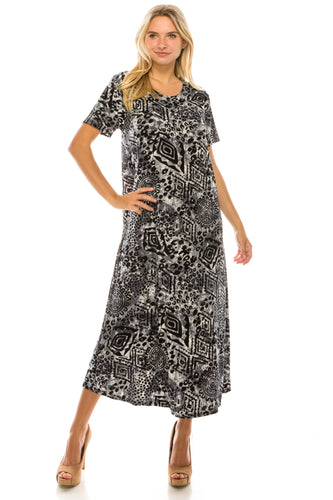 Jostar Women's Stretchy Long Dress Short Sleeve Print, 702BN-SP-W277 - Jostar Online