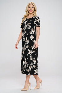 Jostar Women's Stretchy Long Dress Short Sleeve Print-702BN-SRP1-W309