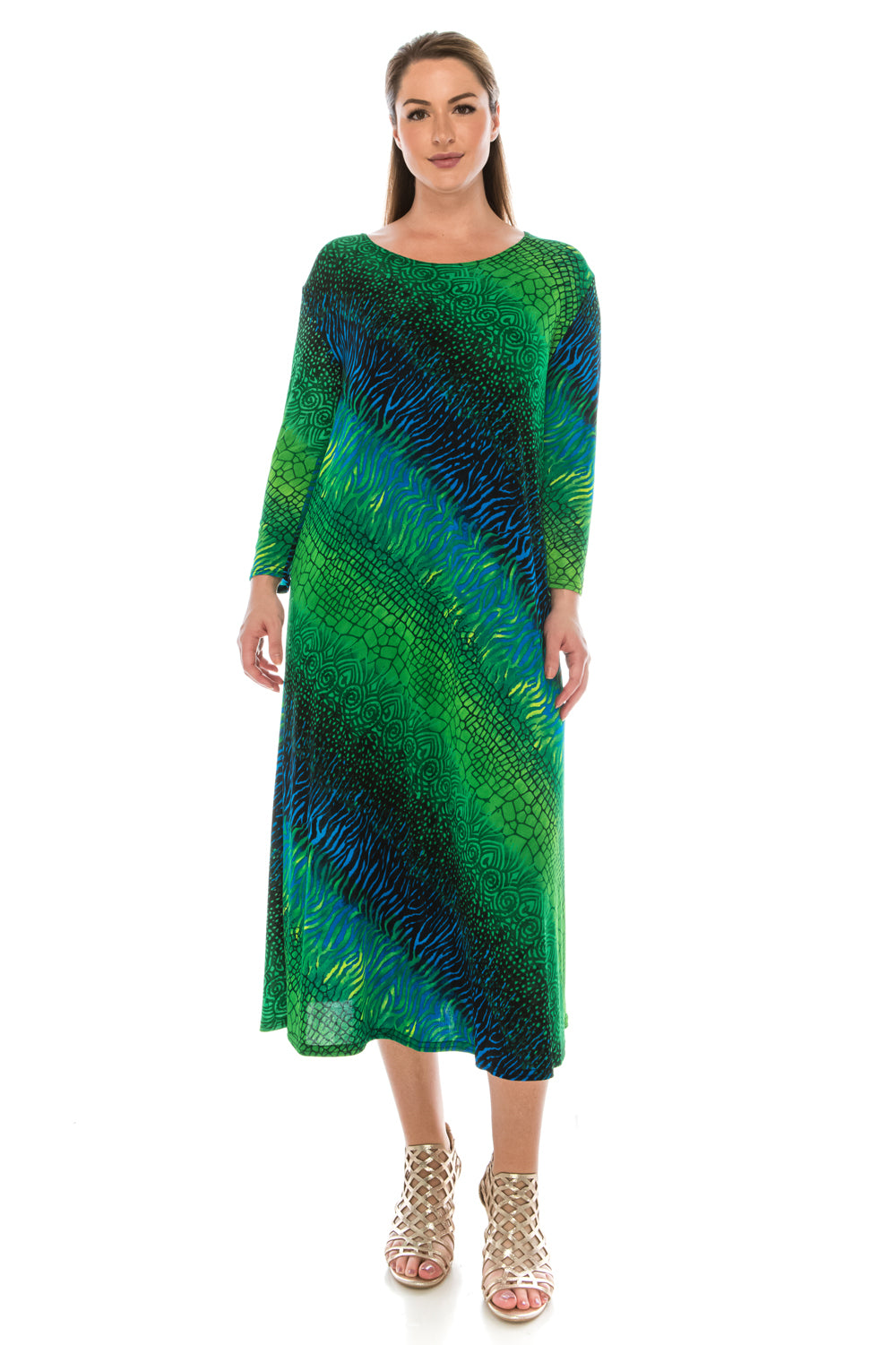 Jostar Women's Stretchy Long Dress 3/4 Sleeve Print, 702BN-QP-W182 - Jostar Online