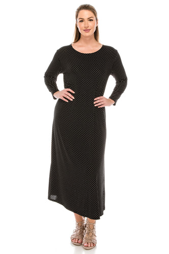Jostar Women's Stretchy Long Dress 3/4 Sleeve Print, 702BN-QP-W990 - Jostar Online