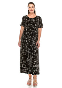 Jostar Women's Stretchy Long Dress Short Sleeve Print, 702BN-SP-W032 - Jostar Online