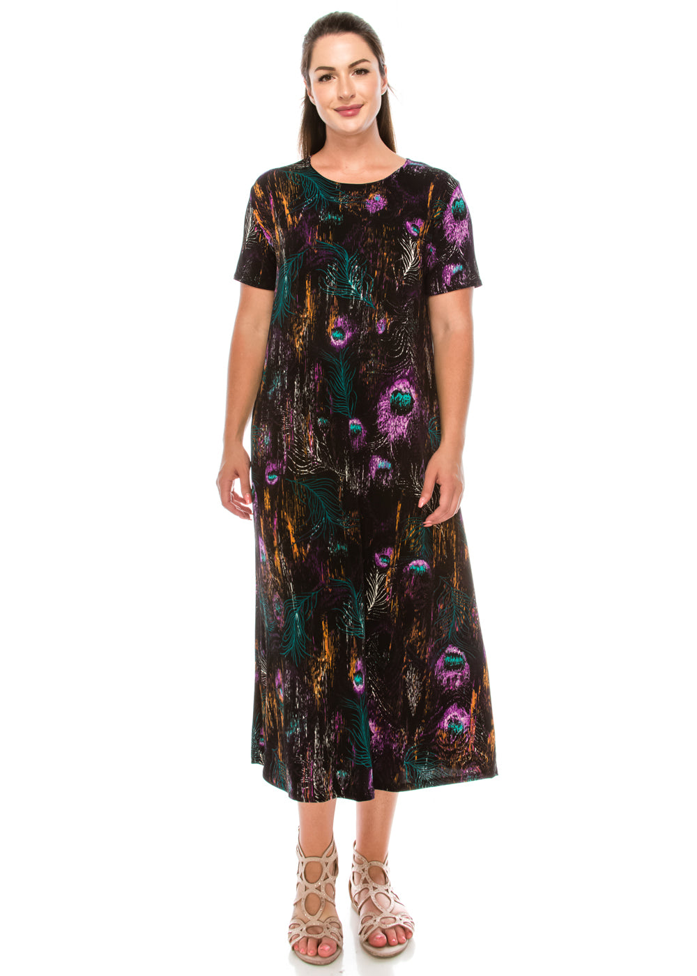 Jostar Women's Stretchy Long Dress Short Sleeve Print, 702BN-SP-W137 - Jostar Online