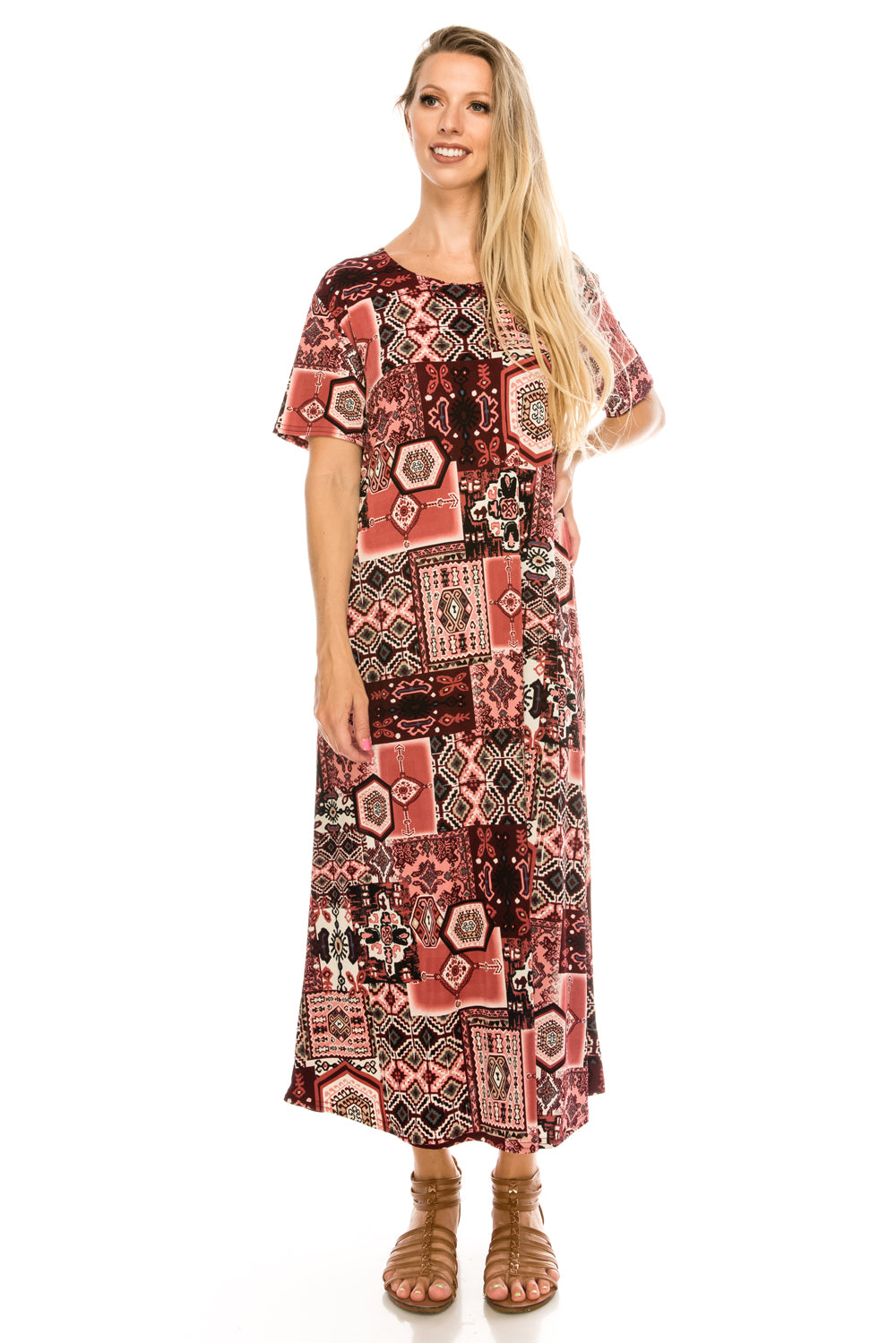 Jostar Women's Stretchy Long Dress Short Sleeve Print, 702BN-SP-W166 - Jostar Online