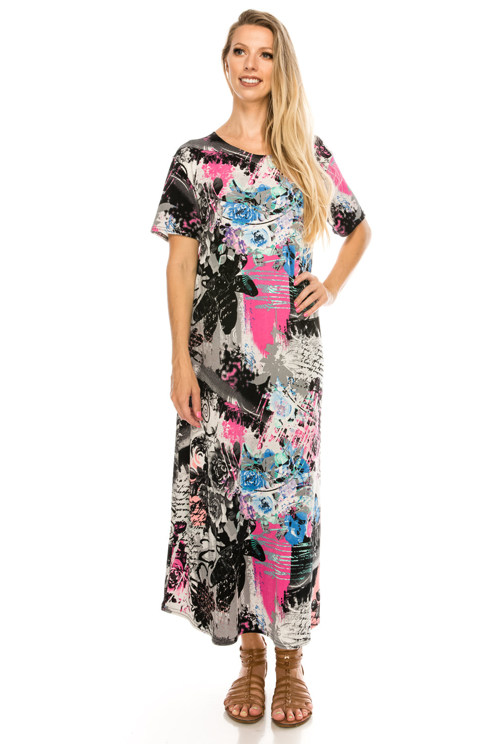 Jostar Women's Stretchy Long Dress Short Sleeve Print, 702BN-SP-W169 - Jostar Online