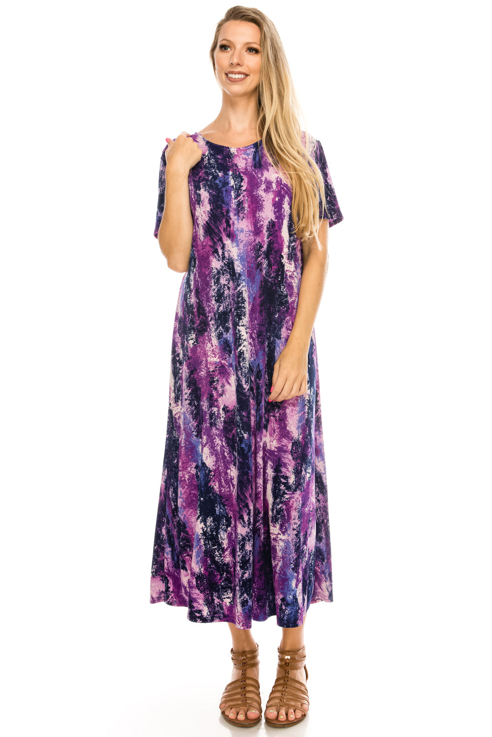 Jostar Women's Stretchy Long Dress Short Sleeve Print, 702BN-SP-W170 - Jostar Online