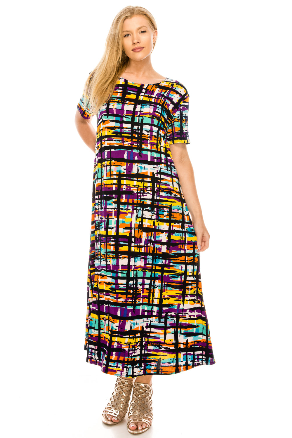 Jostar Women's Stretchy Long Dress Short Sleeve Print, 702BN-SP-W198 - Jostar Online