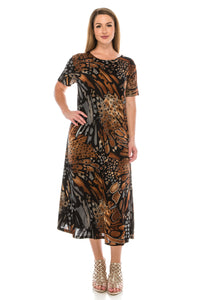 Jostar Women's Stretchy Long Dress Short Sleeve Print, 702BN-SP-W207 - Jostar Online