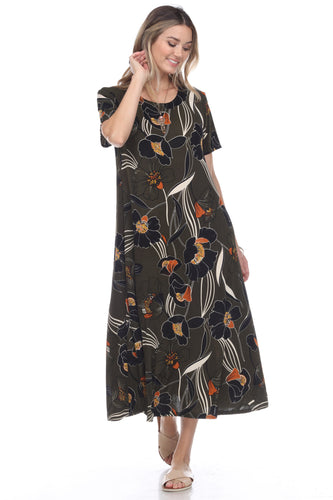 Jostar Women's Stretchy Long Dress Short Sleeve Print, 702BN-SP-W239 - Jostar Online