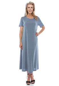 Jostar Women's Stretchy Long Dress Short Sleeve Plus, 702BN-SX - Jostar Online