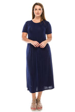 Load image into Gallery viewer, Jostar Women's Stretchy Long Dress Short Sleeve Plus, 702BN-SX - Jostar Online