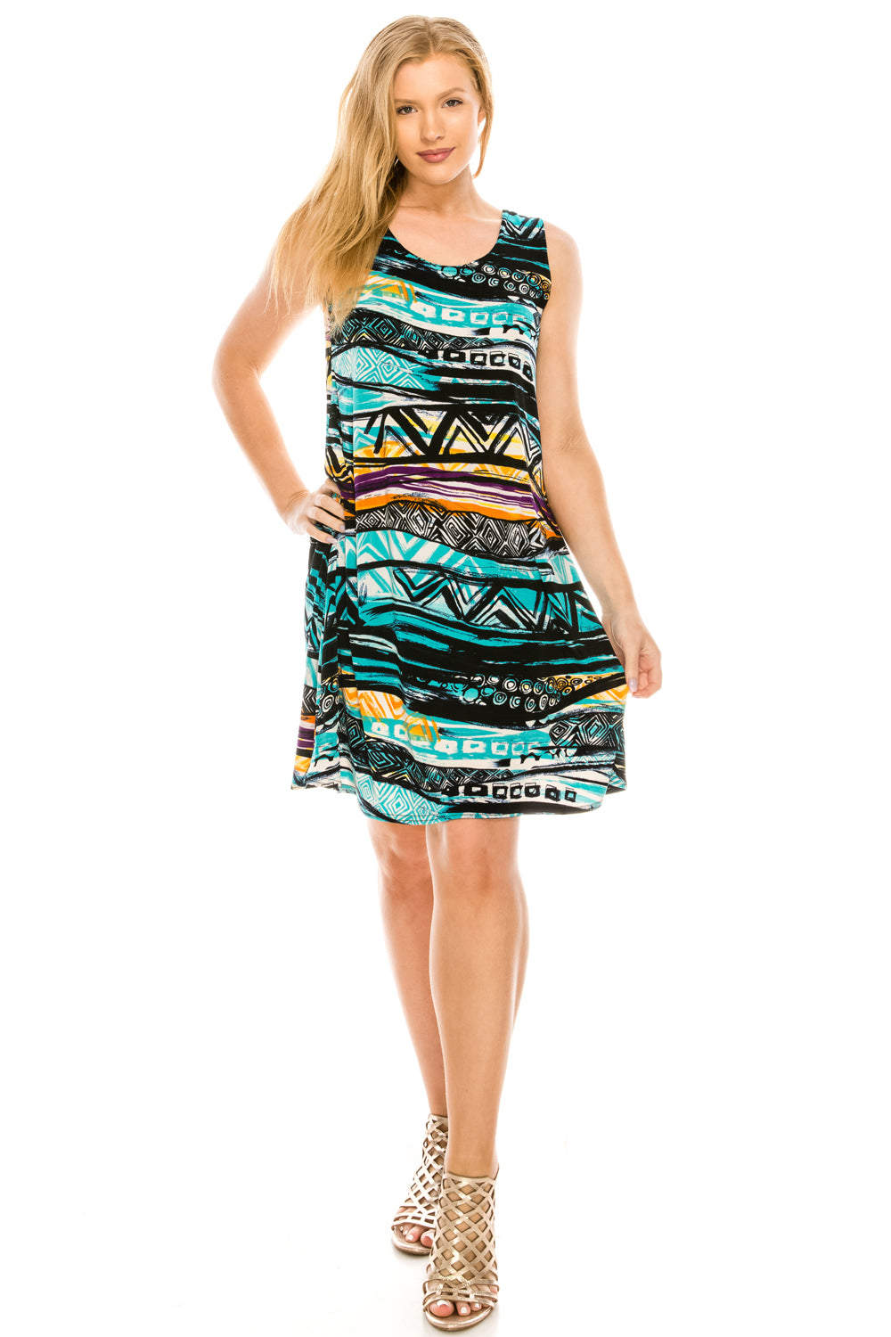 Jostar Women's Stretchy Missy Tank Dress Print Plus, 703BN-TXP-W194