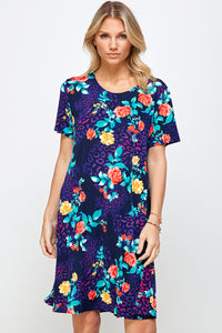 Jostar Women's Stretchy Missy Dress Short Sleeve Print Plus, 704BN-SXP-W301