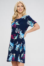 Load image into Gallery viewer, Jostar Women's Stretchy Missy Dress Short Sleeve Print- 704BN-SP-W310