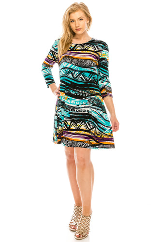 Jostar Women's Stretchy Missy Dress Quarter Sleeve Print, 704BN-QP-W194 - Jostar Online