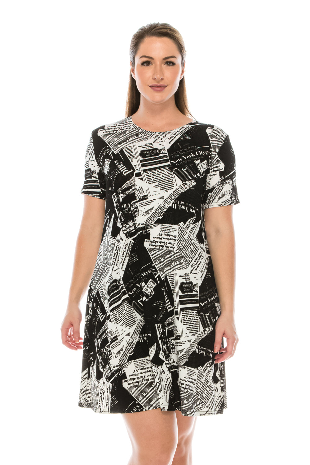 Jostar Women's Stretchy Missy Dress Short Sleeve Print, 704BN-SP-W120 - Jostar Online