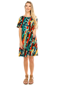 Jostar Women's Stretchy Missy Dress Short Sleeve Print, 704BN-SP-W175 - Jostar Online