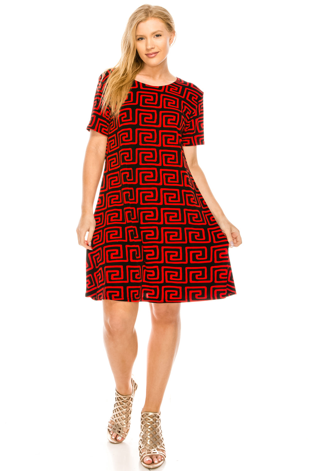 Jostar Women's Stretchy Missy Dress Short Sleeve Print, 704BN-SP-W187 - Jostar Online