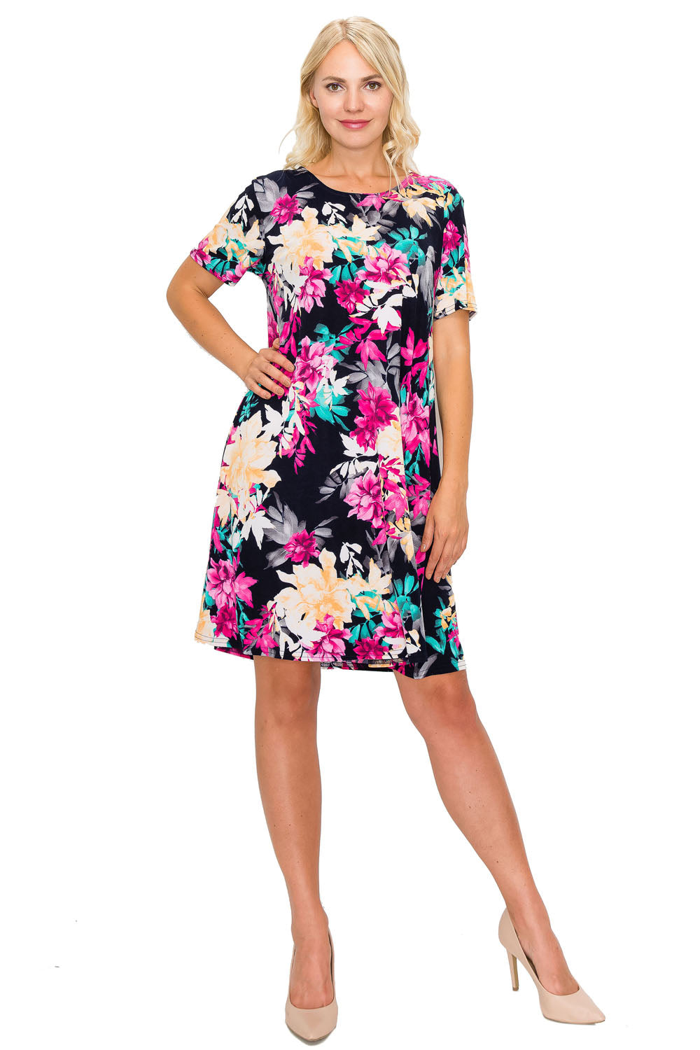 Jostar Women's Stretchy Missy Dress Short Sleeve Print, 704BN-SP-W214 - Jostar Online