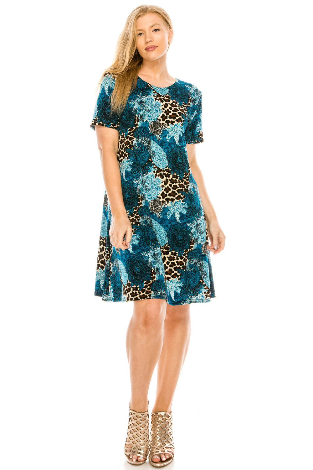 Jostar Women's Stretchy Missy Dress Short Sleeve Print Plus, 704BN-SXP-W188 - Jostar Online