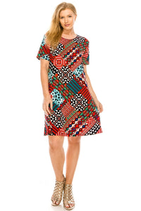 Jostar Women's Stretchy Missy Dress Short Sleeve Print Plus, 704BN-SXP-W188