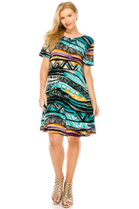 Jostar Women's Stretchy Missy Dress Short Sleeve Print Plus, 704BN-SXP-W194 - Jostar Online
