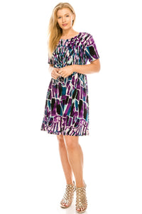 Jostar Women's Stretchy Missy Dress Short Sleeve Print Plus, 704BN-SXP-W194