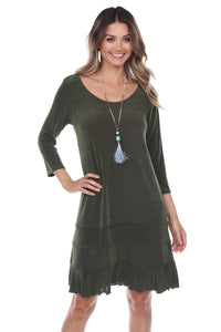 Jostar Women's Acetate 3-Tier bottom Quarter Sleeve Dress-729AY-QRS1
