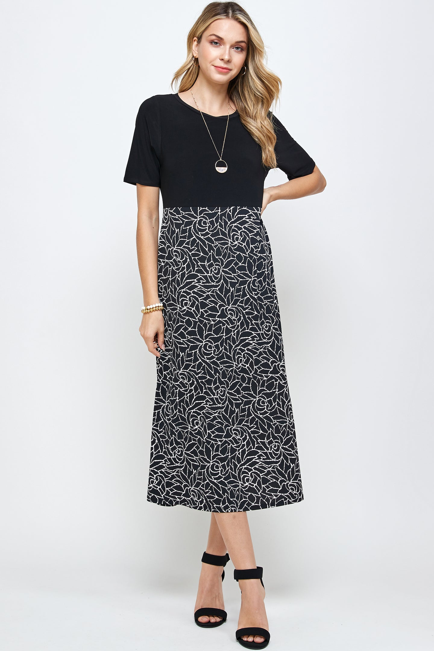 HIT Contrast Waist Line Dress-770HT-HRP1-W253