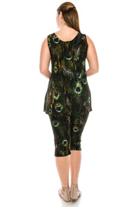 Jostar Women's Stretchy Tank Capri Set Sleeveless Plus Print, 902BN-TXP-W137