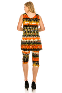 Jostar Women's Stretchy Tank Capri Set Sleeveless Plus Print, 902BN-TXP-W174