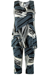 Jostar Women's Stretchy Tank Capri Set Sleeveless Plus Print, 902BN-TXP-W037 - Jostar Online