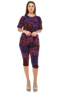 Jostar Women's Stretchy Capri Pant Set Short Sleeve Print, 903BN-SP-W001 - Jostar Online