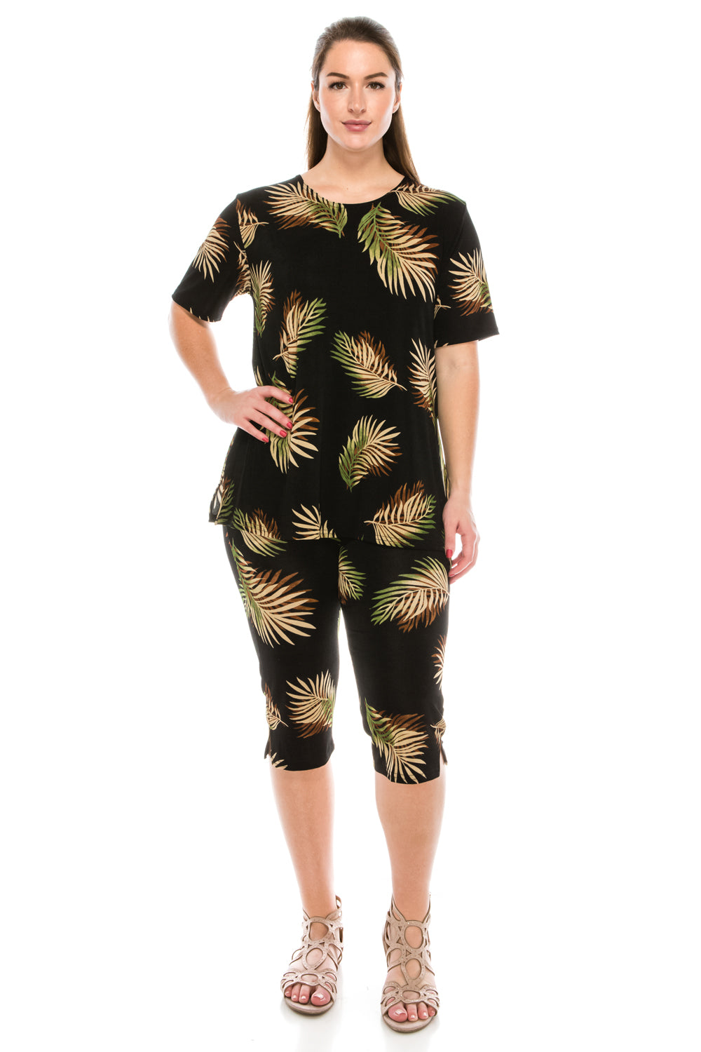 Jostar Women's Stretchy Capri Pant Set Short Sleeve Print, 903BN-SP-W002 - Jostar Online